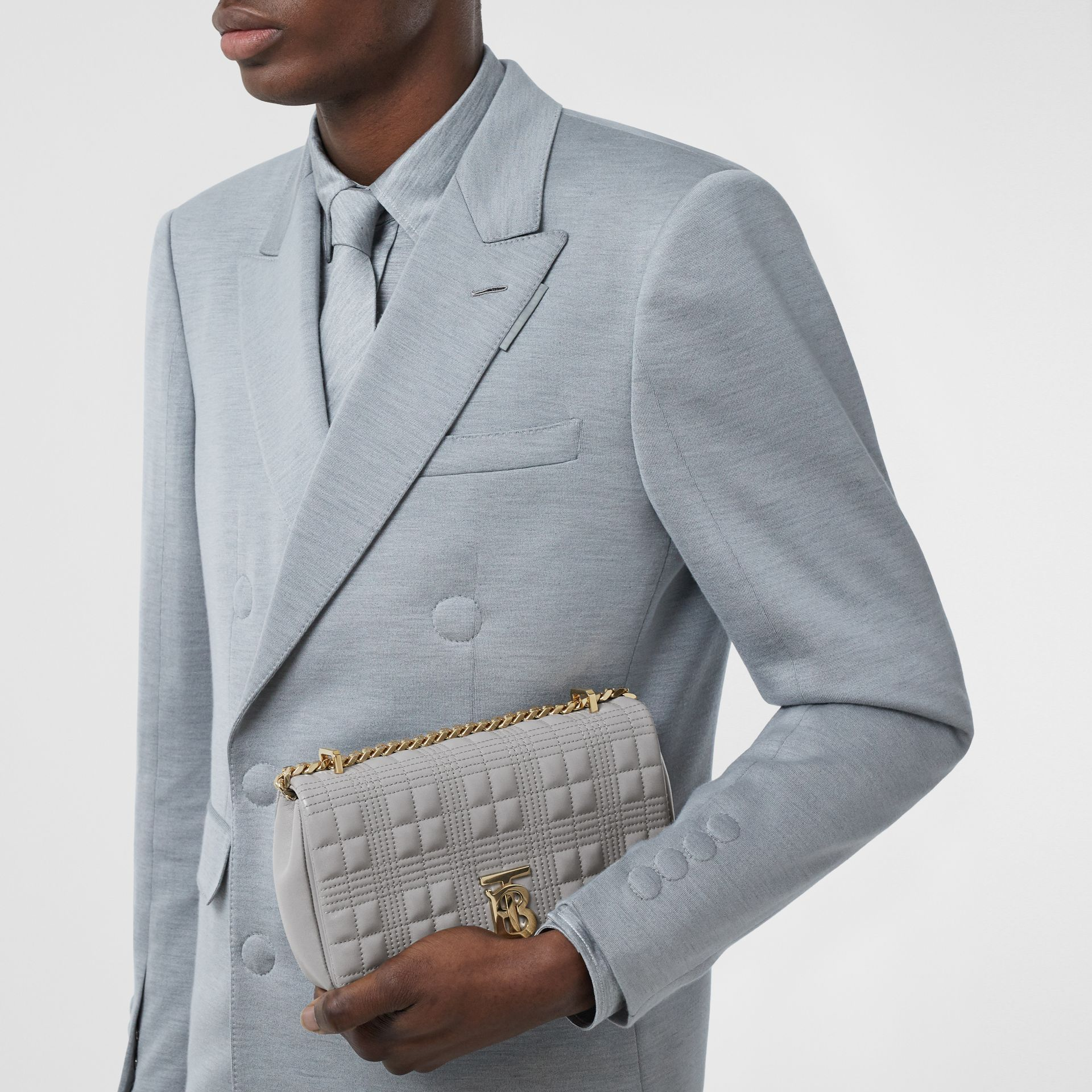 Small Quilted Lambskin Lola Bag in Cloud Grey | Burberry - gallery image 3