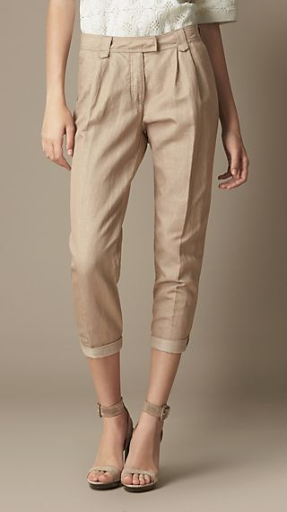 Tapered Cotton Linen Trousers