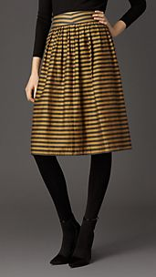 Striped Cotton Silk Skirt