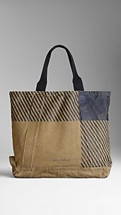 Printed Check Sailing Canvas Tote Bag