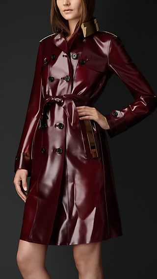 Metal Plate Vinyl Trench Coat