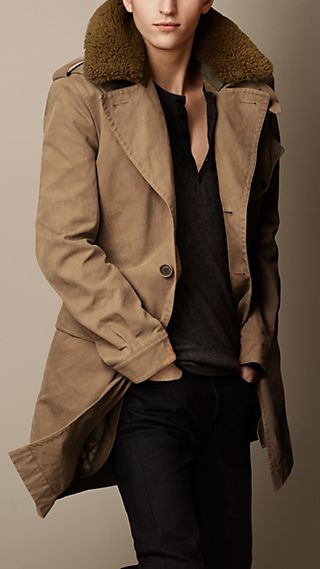 Shearling Collar Heritage Trench Coat