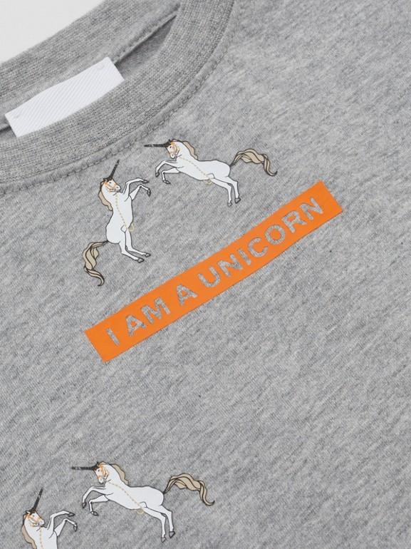 Unicorn Slogan Print Cotton T-shirt in Grey Melange | Burberry United Kingdom - cell image 1