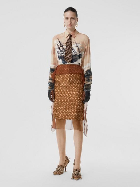 Scarf Detail Monogram Print Silk Pencil Skirt in Brown