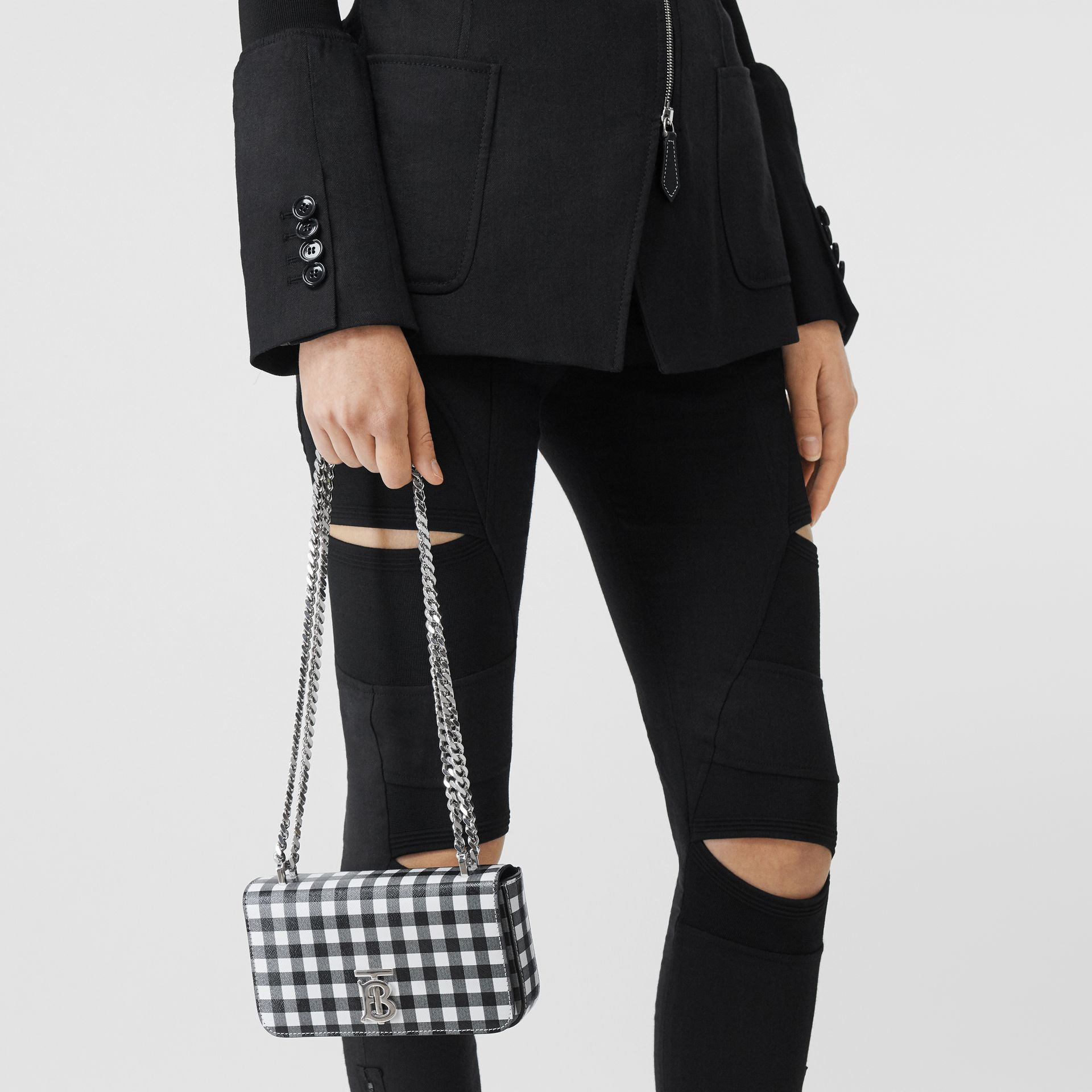 Mini Gingham Leather Lola Bag in Black/white - Women | Burberry - gallery image 8
