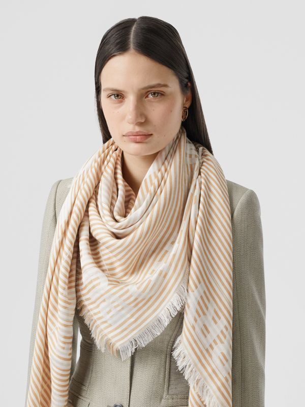 Striped Logo Silk Wool Jacquard Large Square Scarf in Archive Beige   Burberry - cell image 2
