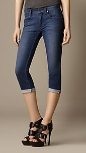 Buckingham Blue Skinny Fit Capri Jeans
