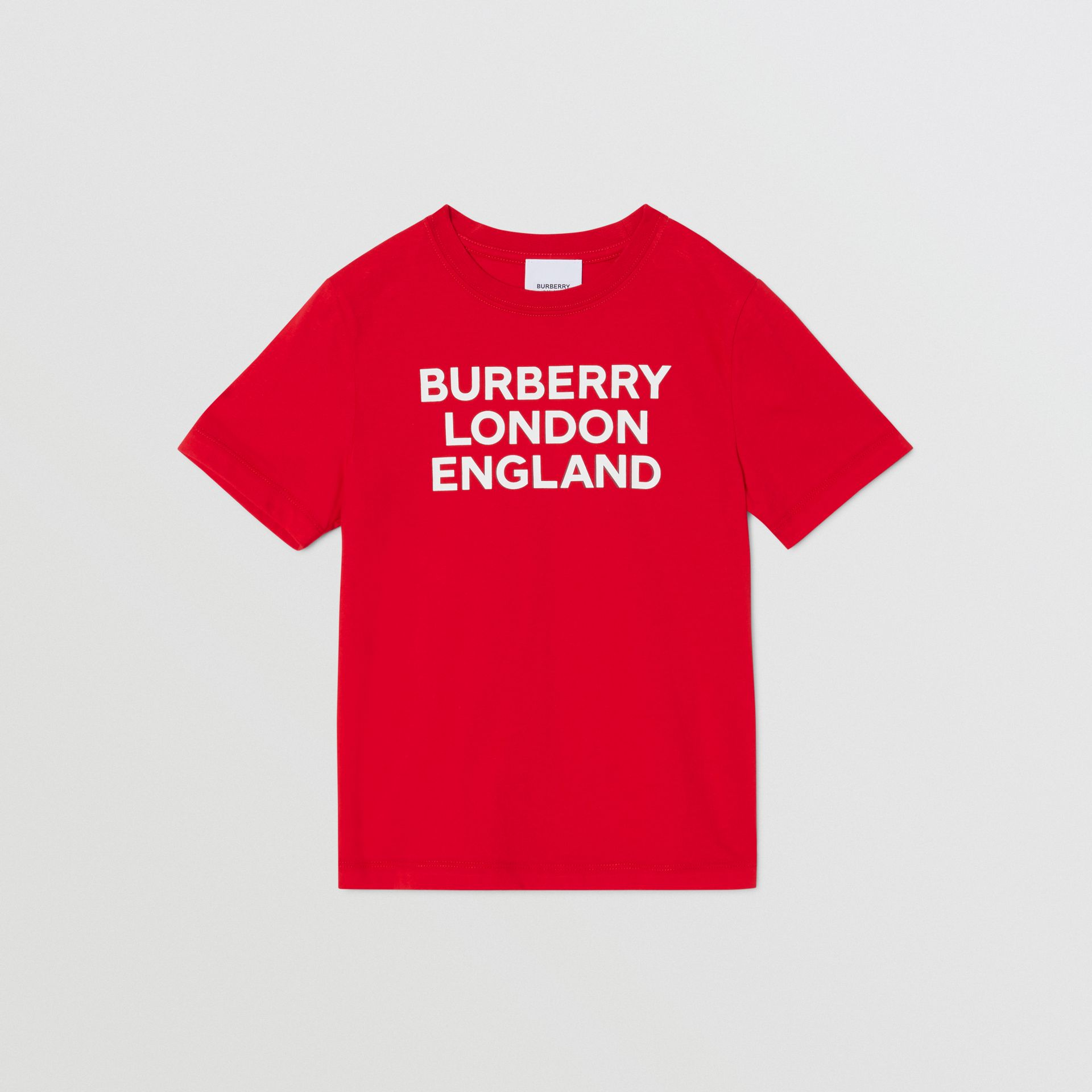 Logo Print Cotton T-shirt in Bright Red | Burberry United Kingdom - gallery image 0