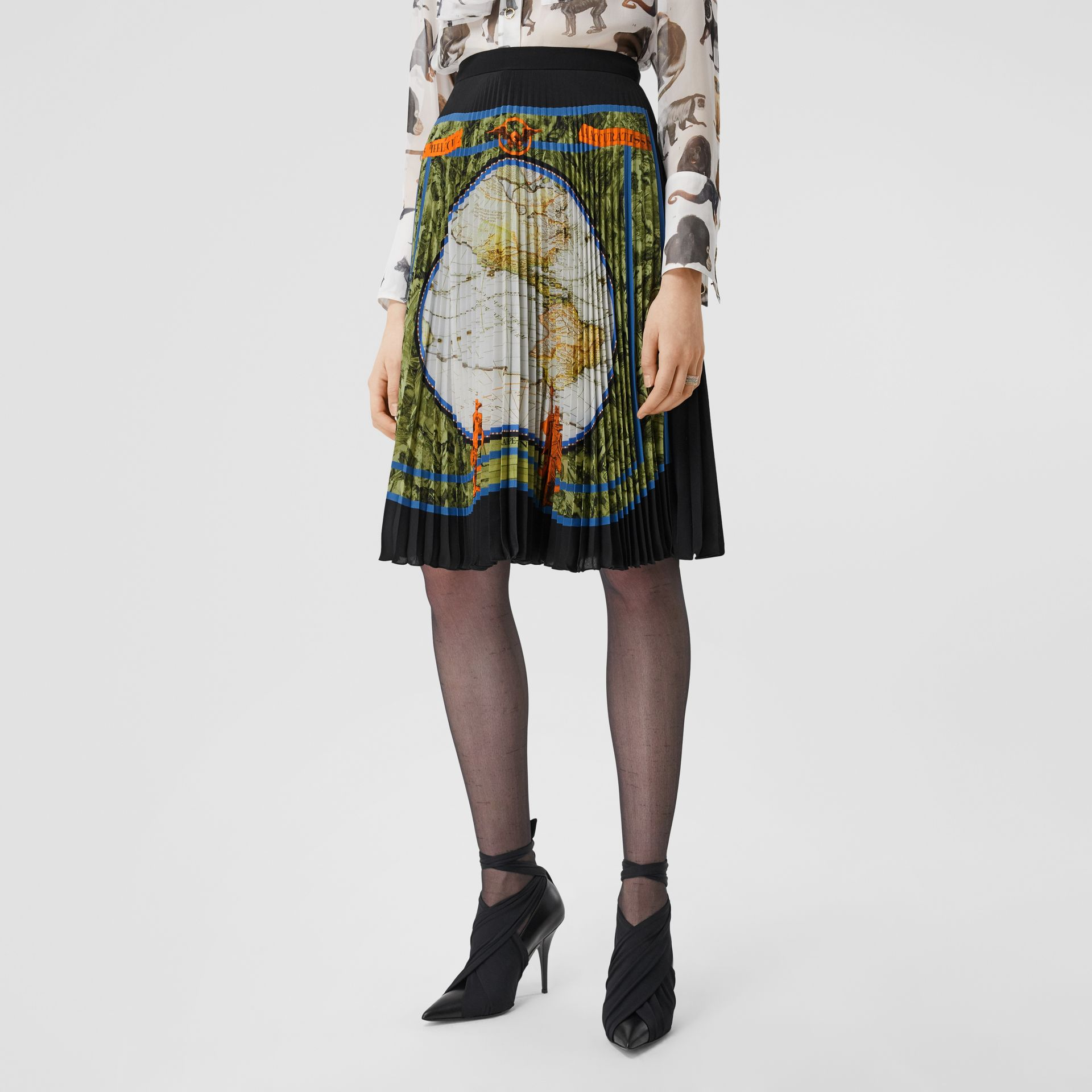 Map Print Silk-lined Pleated Skirt in Taupe Grey | Burberry United Kingdom - gallery image 4