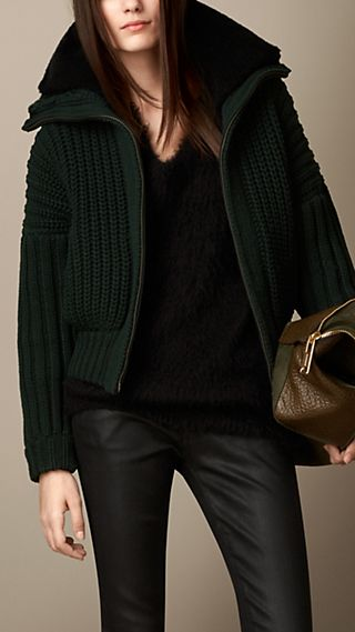 Knitted Bomber Cardigan with Removable Shearling Collar