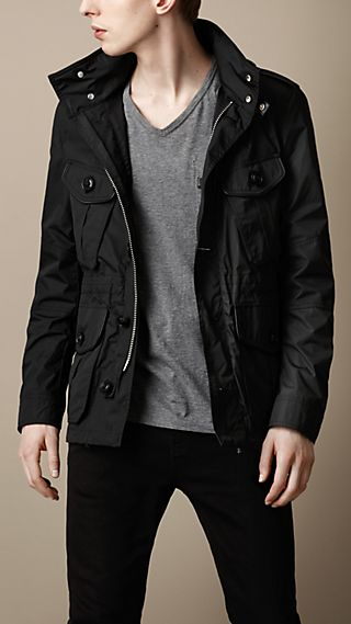 Lightweight Leather Trim Field Jacket