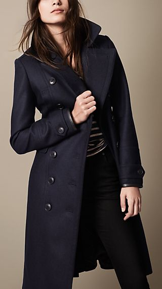 Wool Blend Military Pea Coat with Warmer