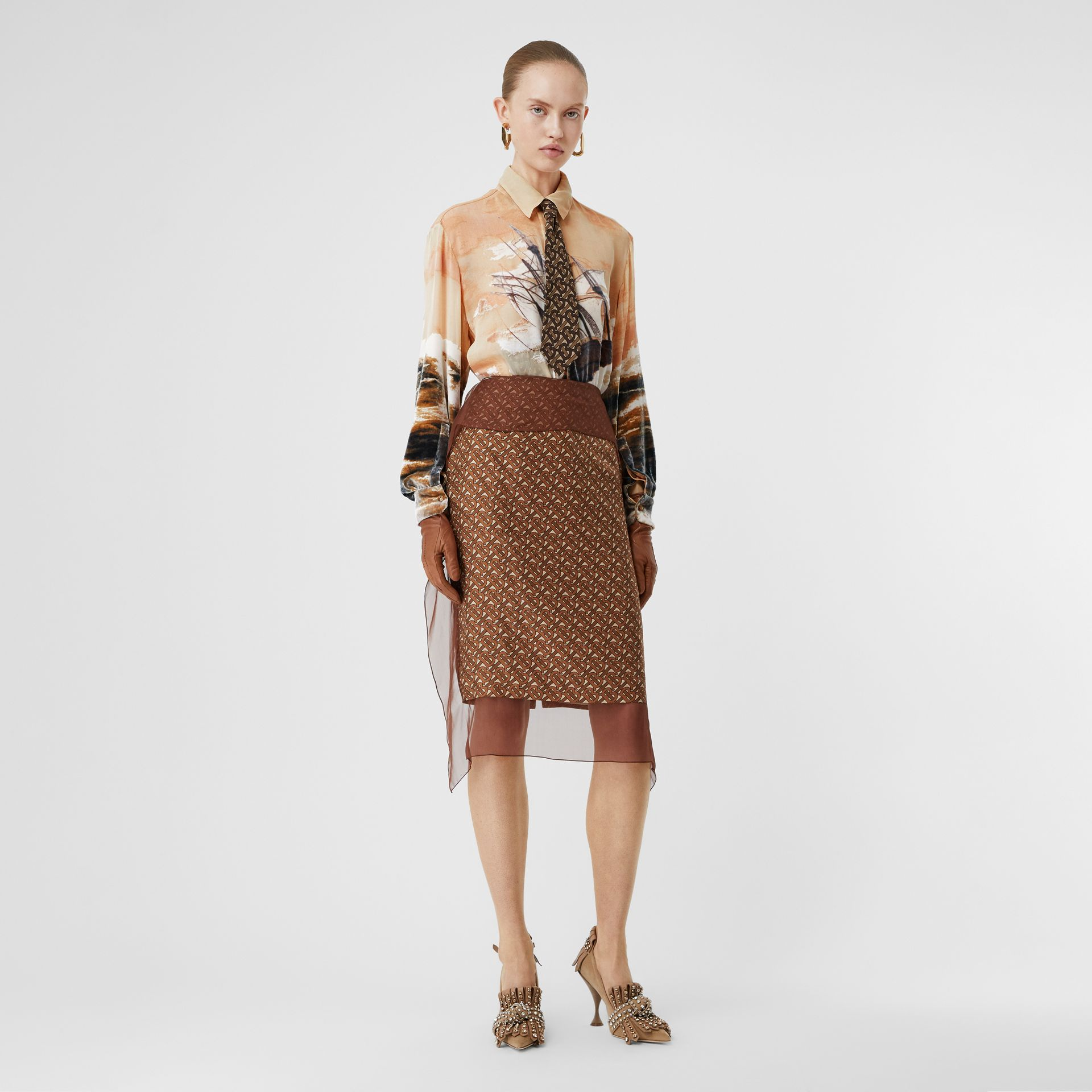 Ship Print Devoré Silk Blend Oversized Shirt in Bronze - Women | Burberry - gallery image 4