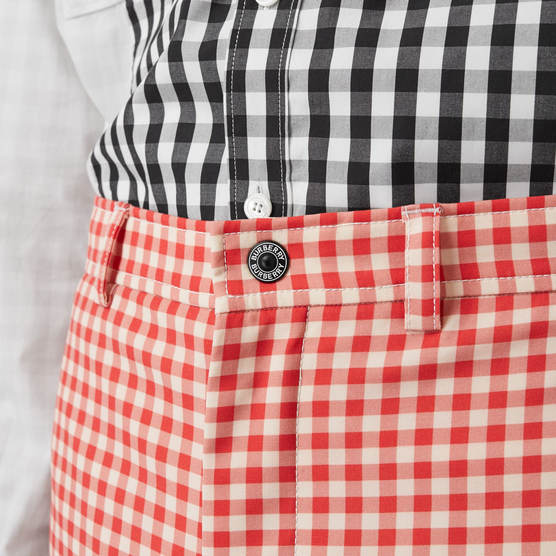 Cut-out Back Gingham Stretch Cotton Trousers in Red | Burberry - gallery image 6