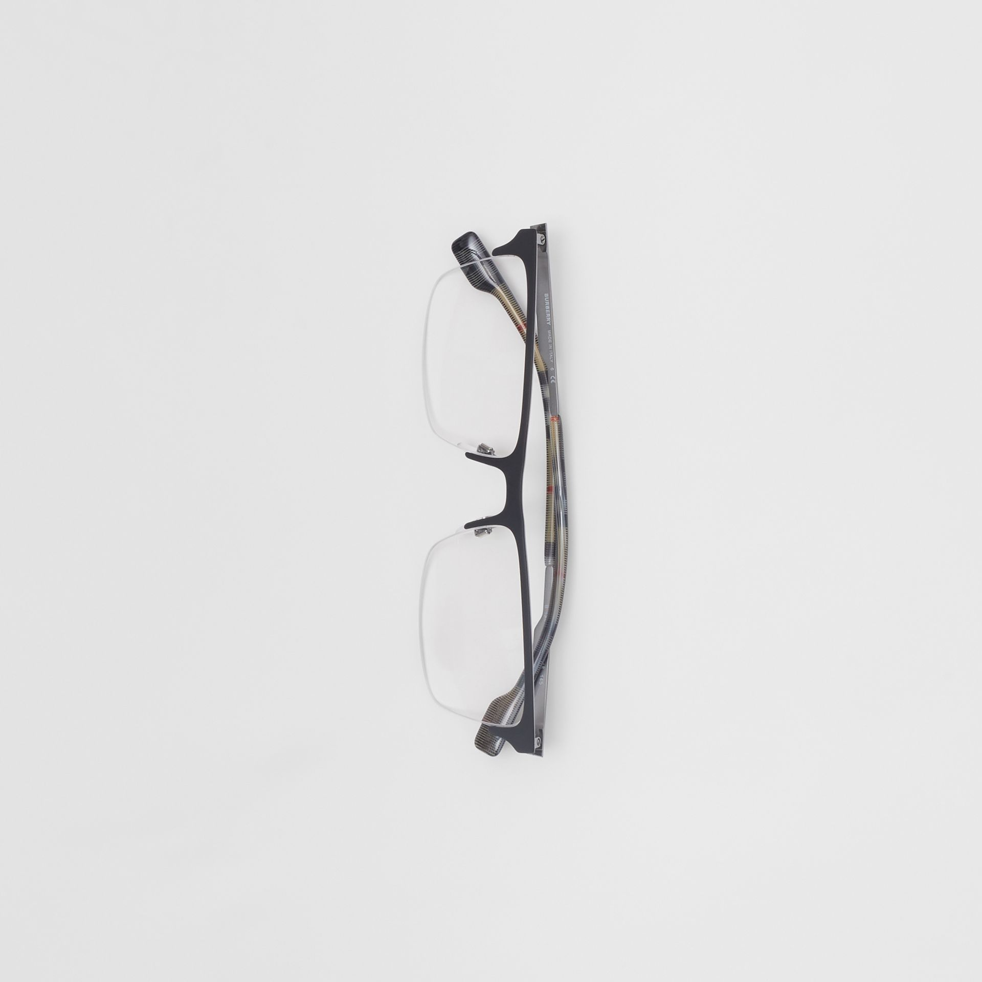 Óculos de grau com armação retangular (Preto Fosco) - Homens | Burberry - galeria de imagens 3