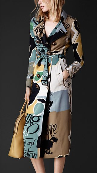 Book Cover Print Silk Trench Coat