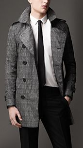 Mid-Length Herringbone Trench Coat with Leather Trim