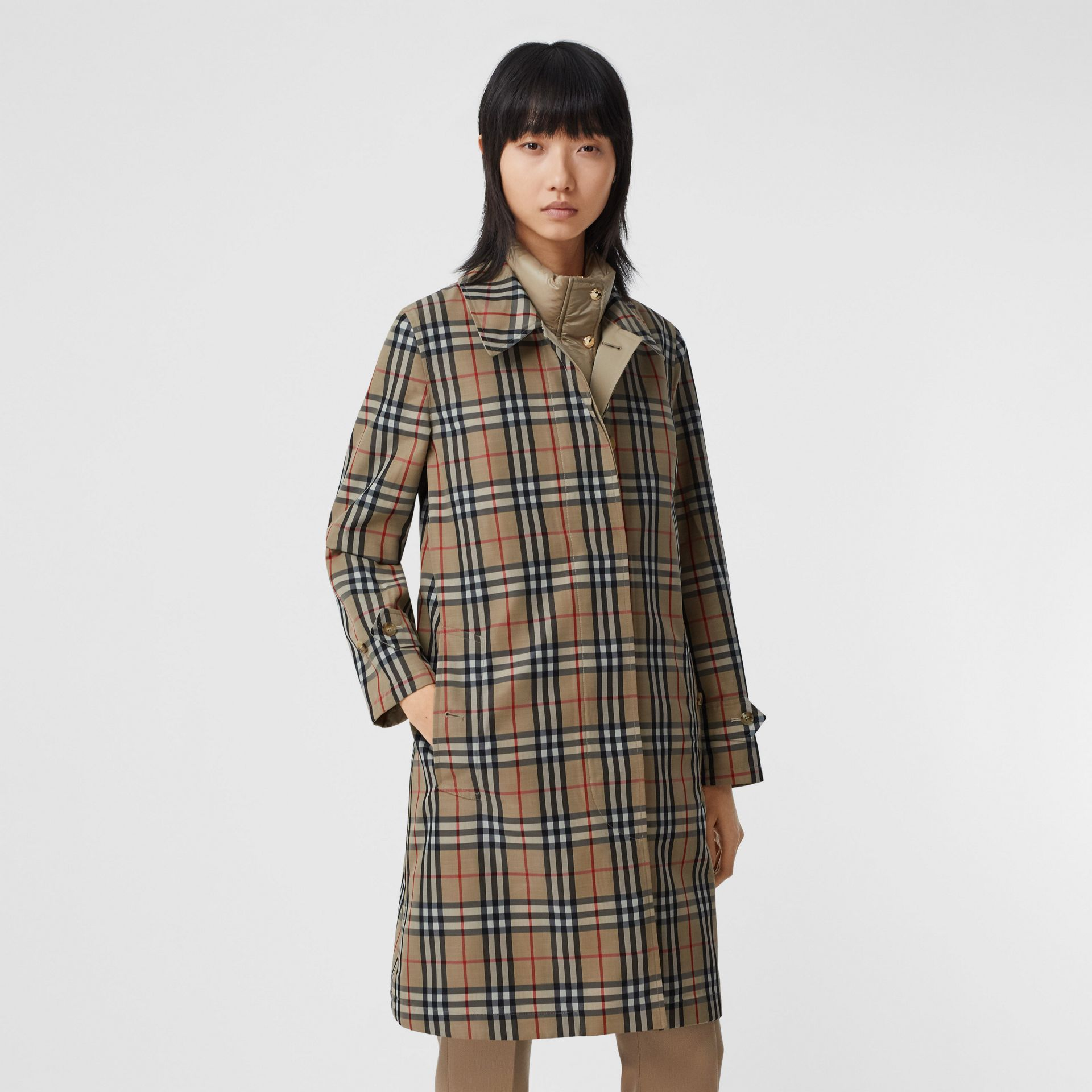 Reversible Cotton and Vintage Check Car Coat in Honey - Women | Burberry Canada - gallery image 0
