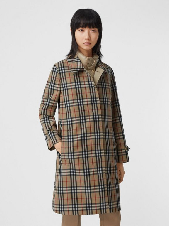 Reversible Cotton and Vintage Check Car Coat in Honey - Women | Burberry - cell image 1