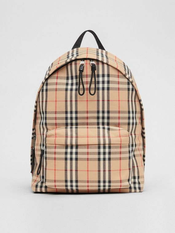 Vintage Check Nylon Backpack in Archive Beige