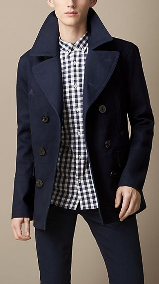 Bonded Cotton Twill Pea Coat
