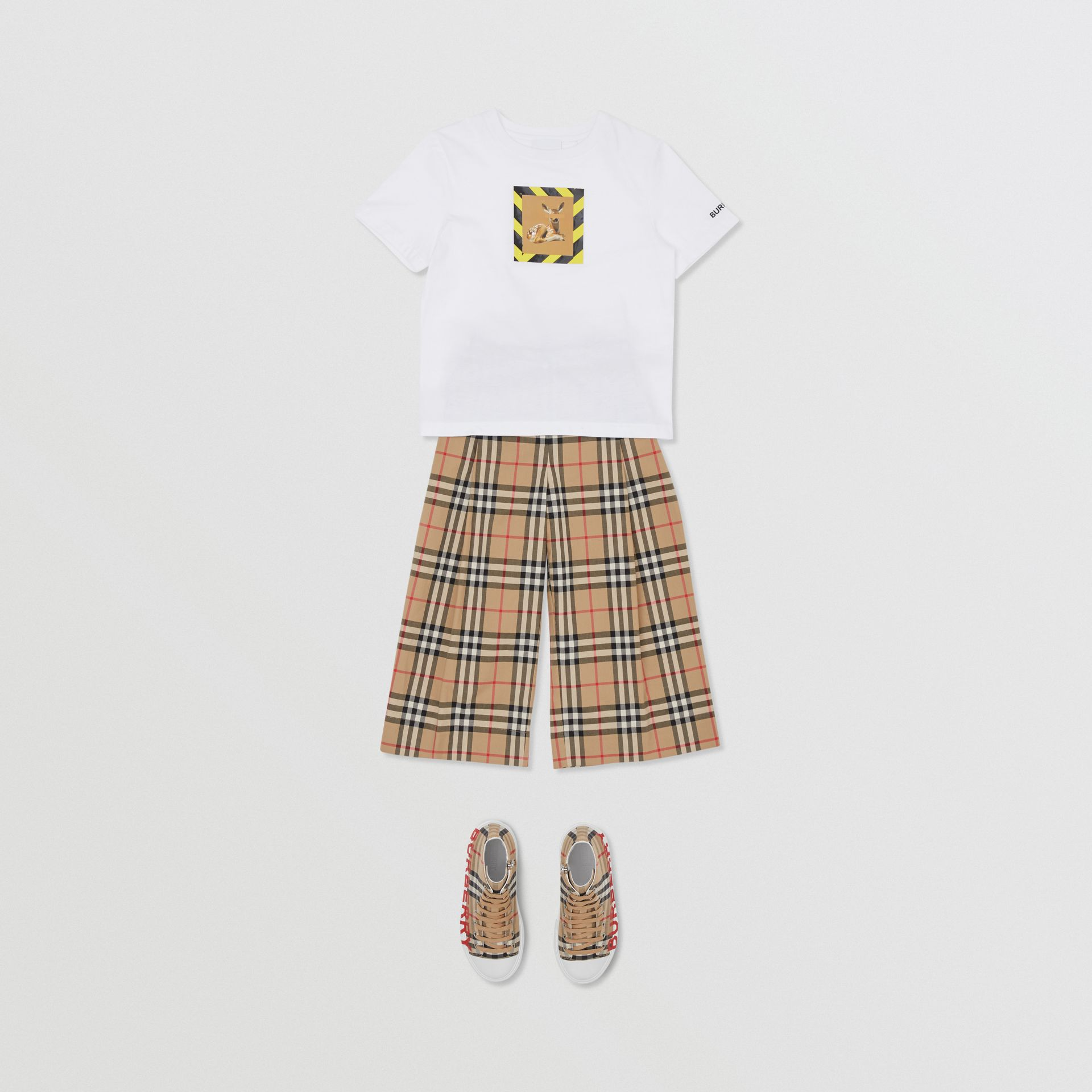 Deer Print Cotton T-shirt in White | Burberry United States - gallery image 2