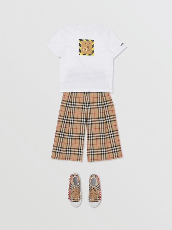 Camiseta de algodão com estampa de cervo (Branco)