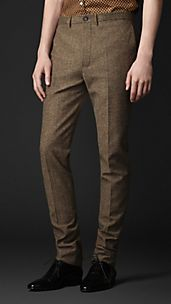 Pantalon en tweed de coupe étroite