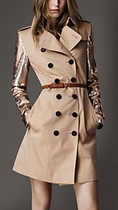 Trench-coat long en gabardine avec manches en python