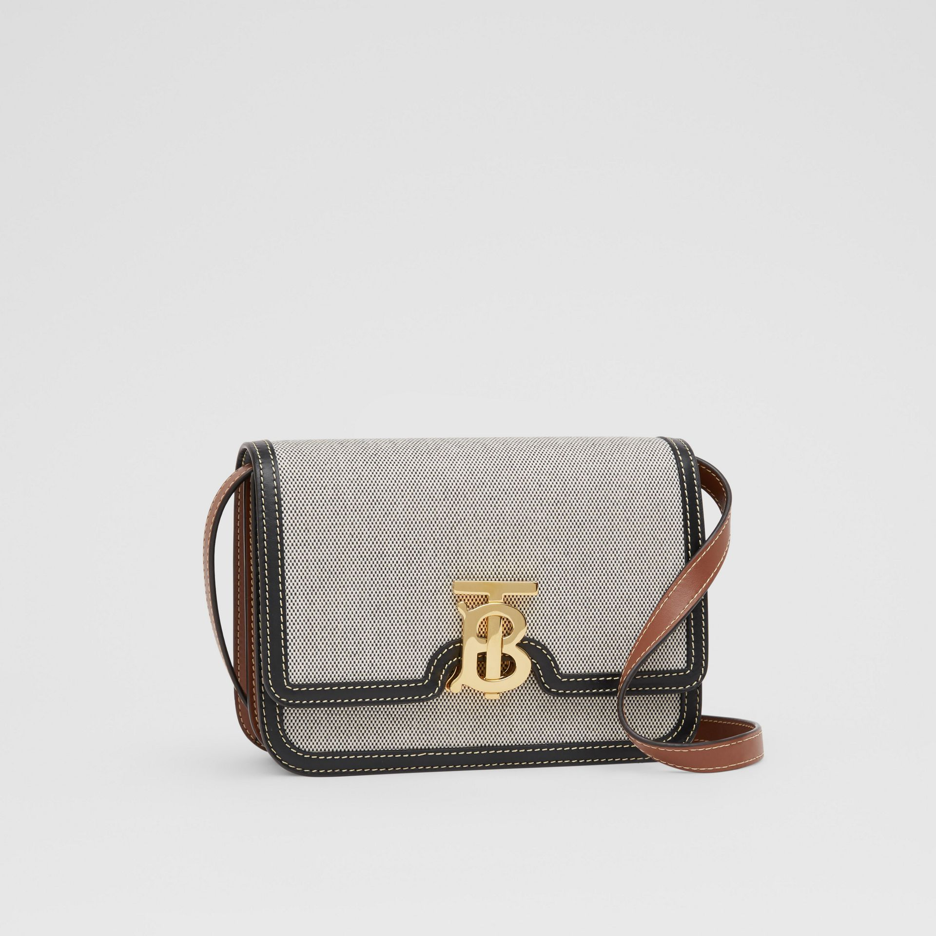 Small Tri-tone Canvas and Leather TB Bag in Black/tan - Women | Burberry United States - gallery image 6