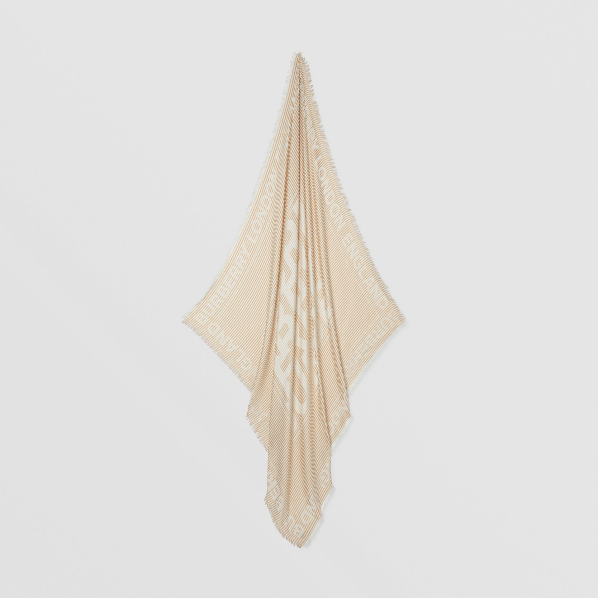 Striped Logo Silk Wool Jacquard Large Square Scarf in Archive Beige   Burberry - gallery image 4