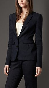 Peplum Detail Stretch-Linen Jacket