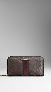 Python Leather Ziparound Wallet