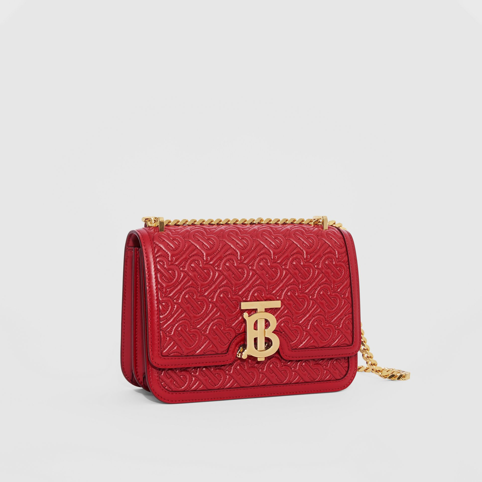 Small Quilted Monogram Lambskin TB Bag in Dark Carmine - Women | Burberry - gallery image 6