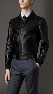 Pocket Detail Leather Blouson