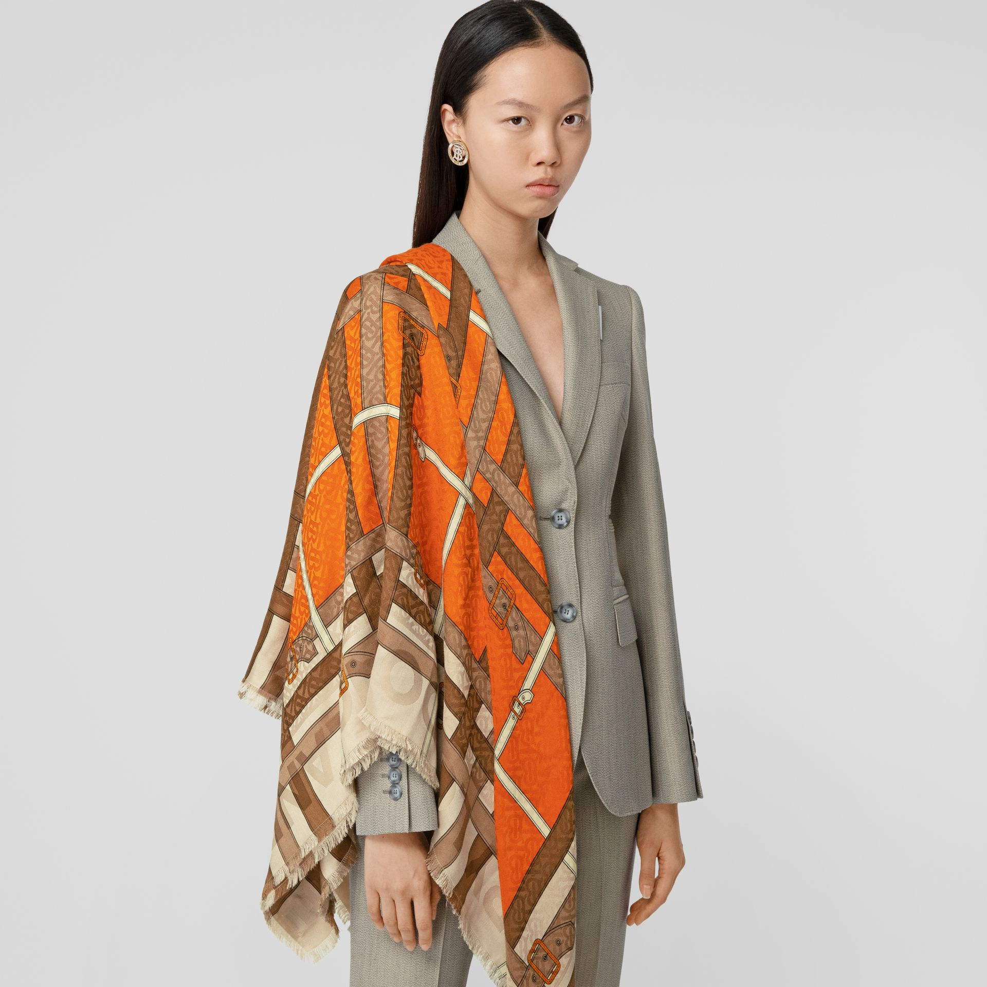 Archive Scarf Print Silk Wool Large Square Scarf in Bright Orange | Burberry United Kingdom - gallery image 2