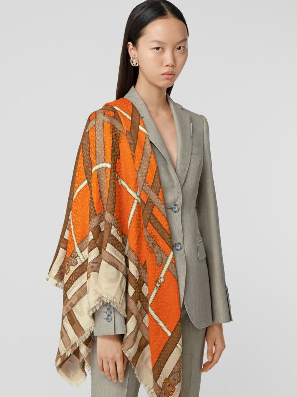 Archive Scarf Print Silk Wool Large Square Scarf in Bright Orange | Burberry United Kingdom - cell image 2