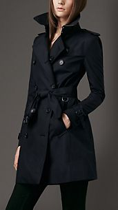 Trench coat de longitud media en algodón de gabardina
