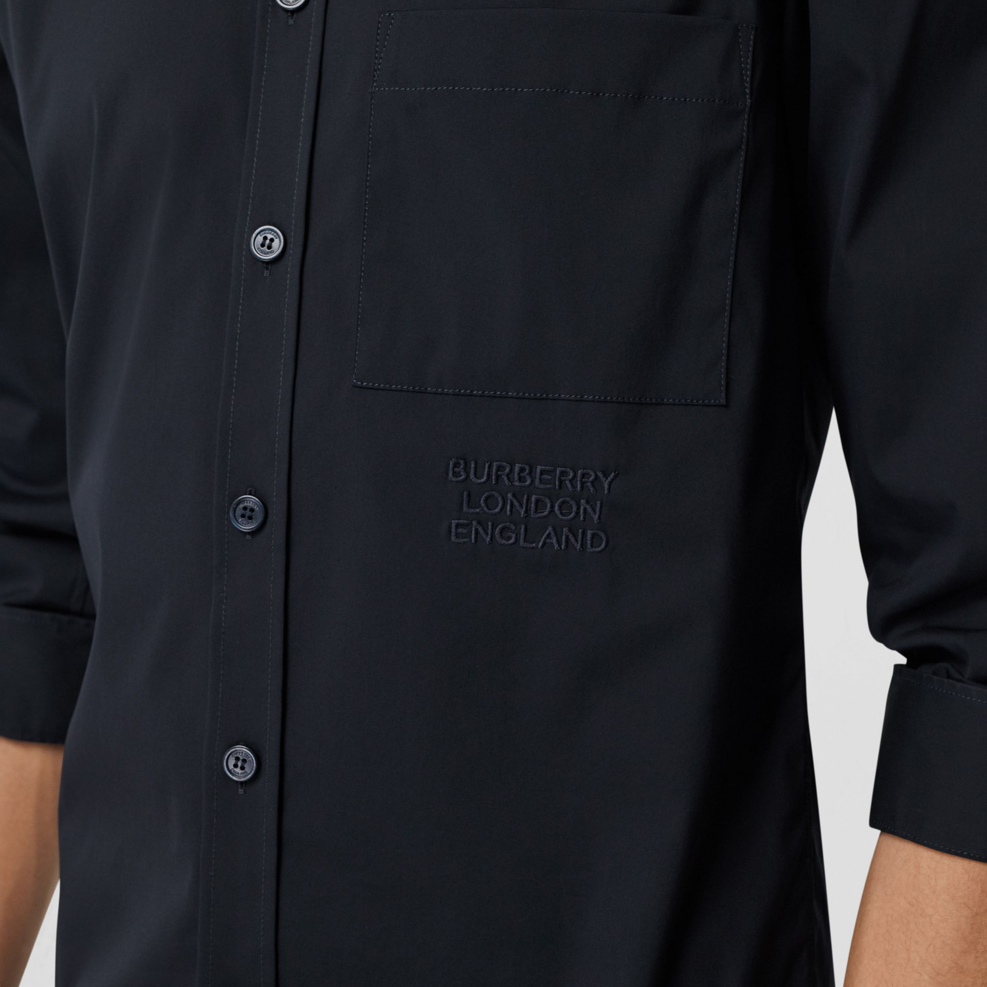Embroidered Logo Cotton Blend Shirt in Navy | Burberry United Kingdom - gallery image 1