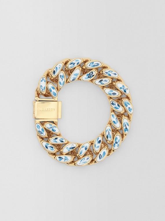 Enamel Detail Gold-plated Chain-link Bracelet in Light Gold/white/blue