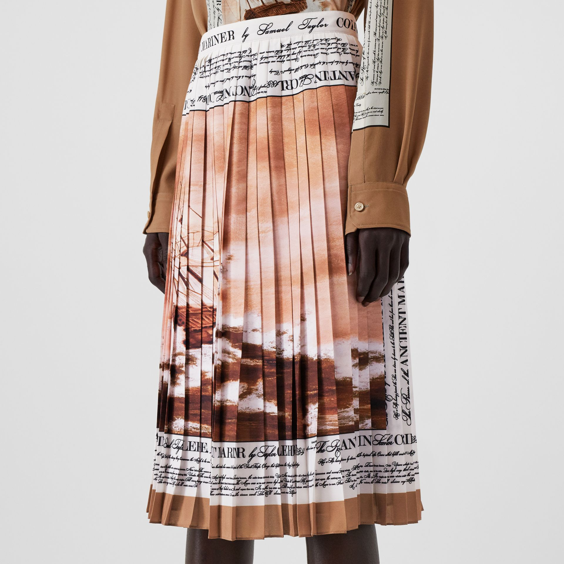 Mariner Print Pleated Cady Skirt in Bronze - Women | Burberry - gallery image 1