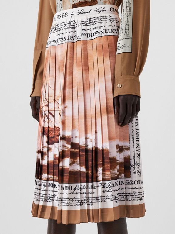 Mariner Print Pleated Cady Skirt in Bronze - Women | Burberry - cell image 1