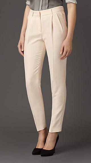 Slim Fit Silk Trousers