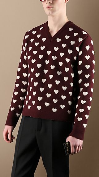 Double Wool Heart Sweater