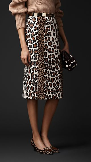 Animal Print Calfskin Pencil Skirt