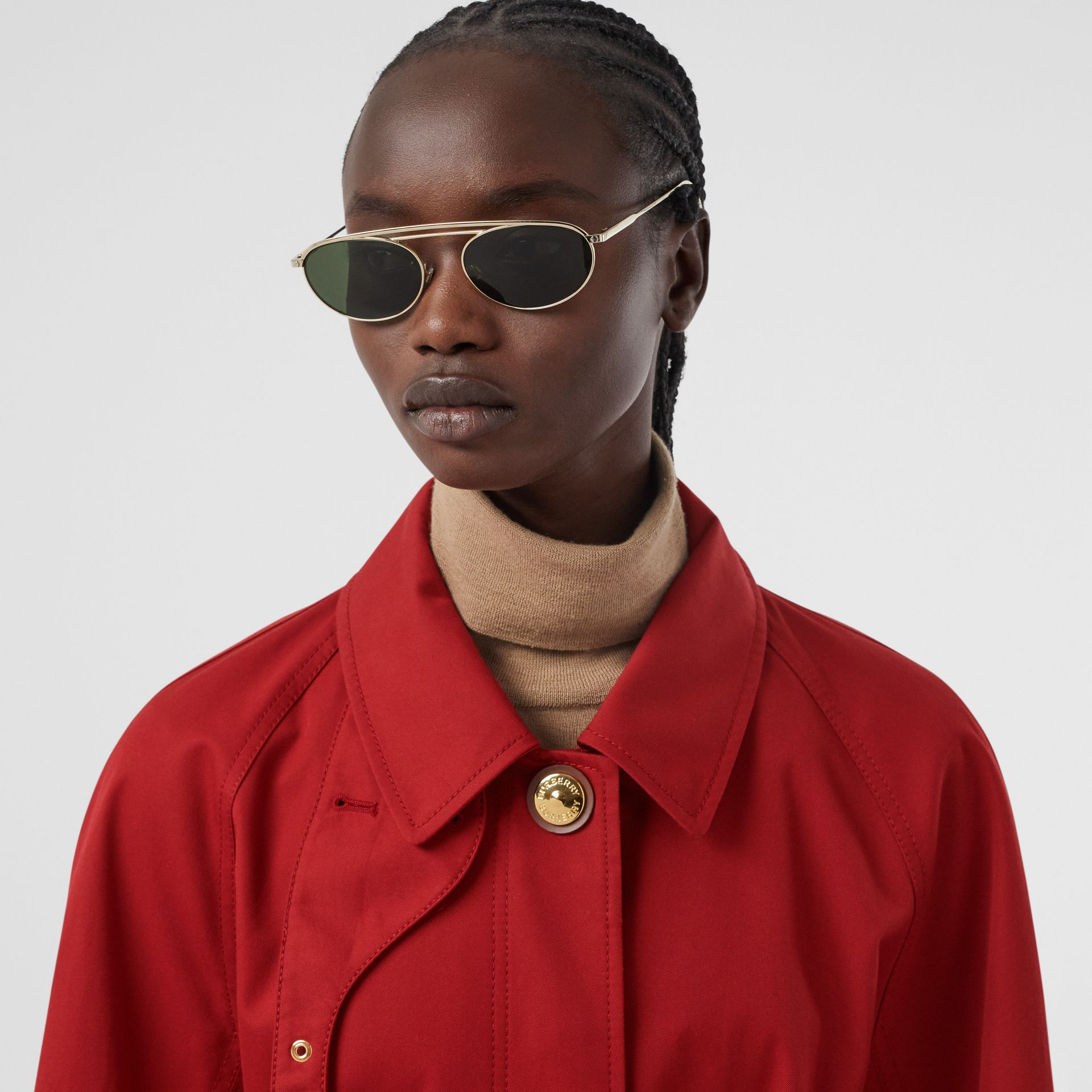Tropical Gabardine Belted Car Coat in Dark Carmine - Women | Burberry - gallery image 1