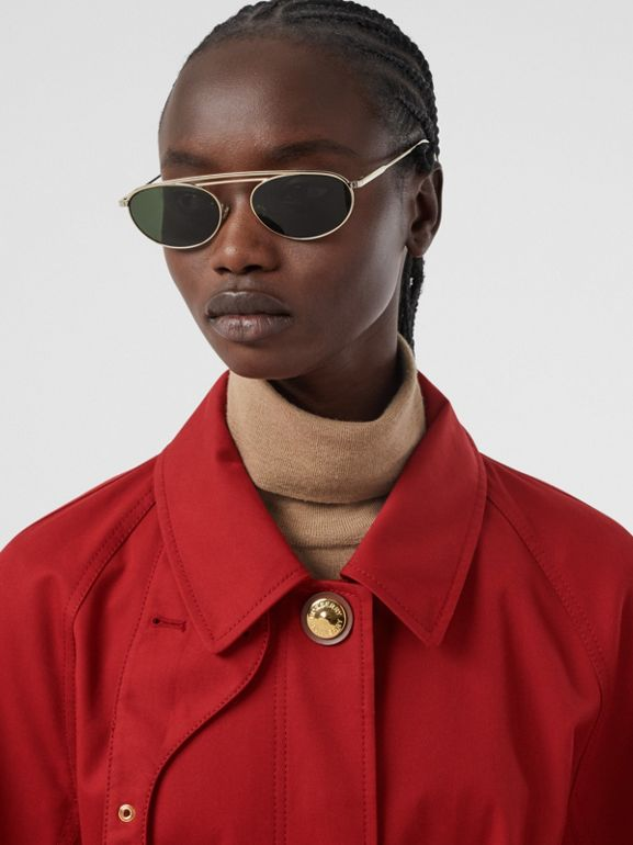 Tropical Gabardine Belted Car Coat in Dark Carmine - Women | Burberry - cell image 1