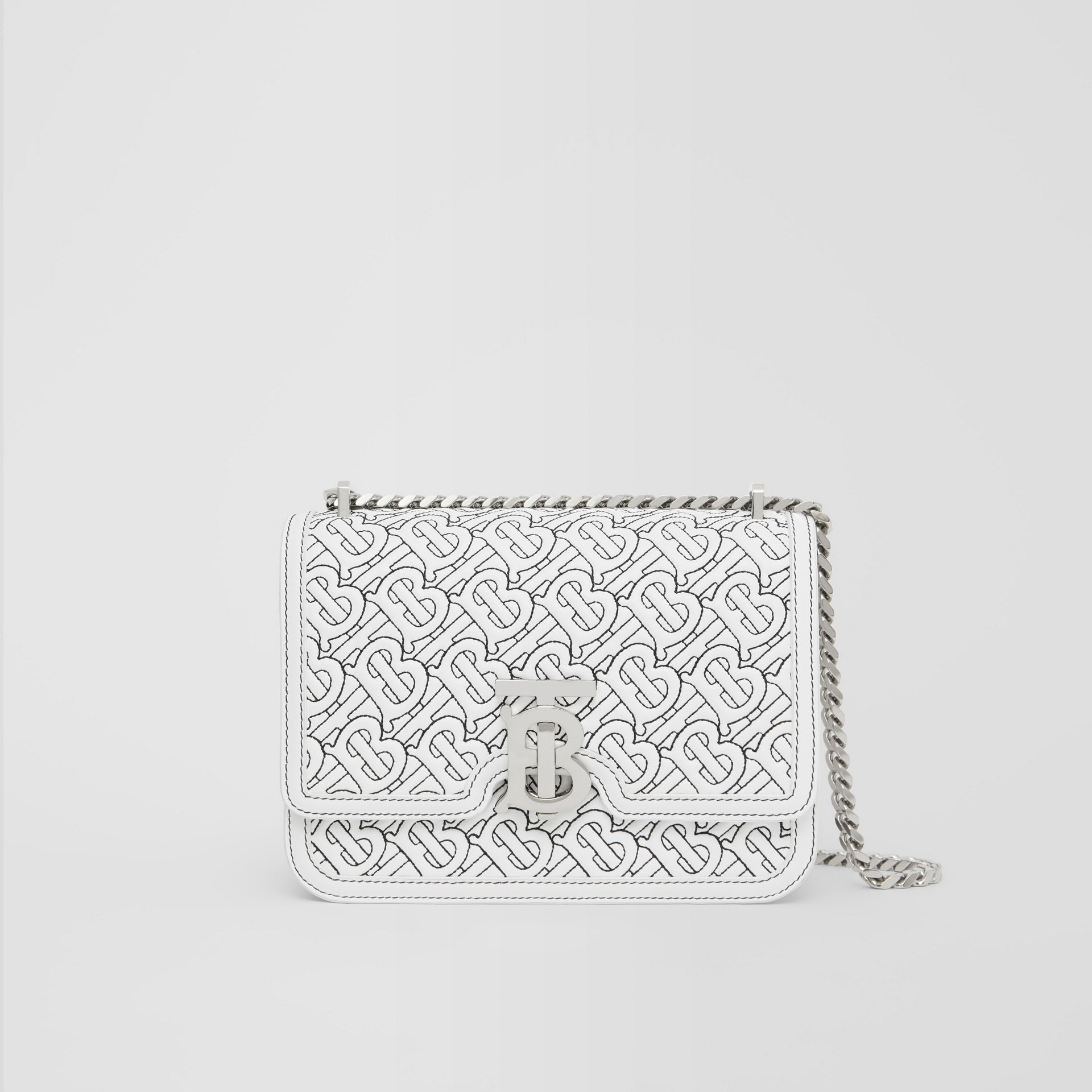 Small Quilted Monogram Lambskin TB Bag in Optic White - Women | Burberry Hong Kong S.A.R. - gallery image 0