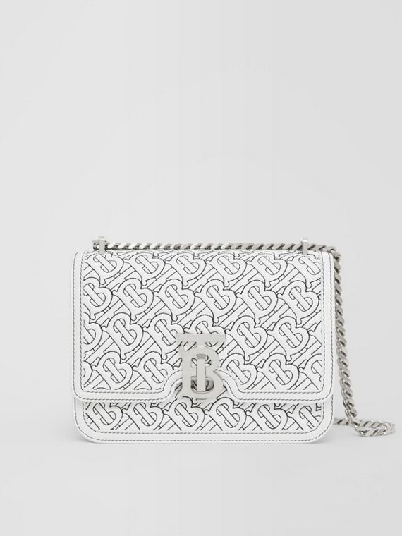 Small Quilted Monogram Lambskin TB Bag in Optic White