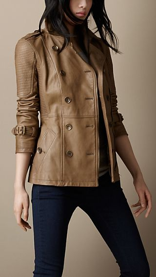 Leather Biker Trench Jacket